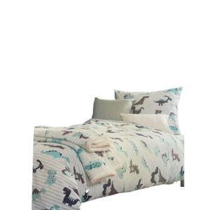 Kinder Bettwäsche 100% Baumwolle 135x200 80*80 Blau Rosa Herzen Dinosaurier NEU, Farbe:Blau