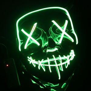 LED Grusel Maske Grün- wie aus Purge mit 3X Lichteffekten, steuerbar, für Halloween als Kostüm