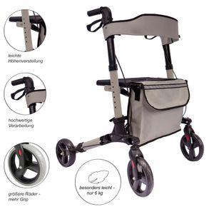 Arebos Alu Rollator klappbar Leichtgewichtsrollator Laufhilfe Gehhilfe Gehwagen mit Einkaufstasche Grau