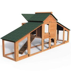 VOUNOT Hühnerstall mit Auslauf, Hühnervoliere Geflügelstall aus Holz, 210 x 85 x 85 cm