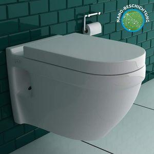 Vitra S50 Spülrandloses Hänge-Dusch-WC mit integrierter Taharet-Bidet Funktion und Bidetschlauch für Intimdusche und Abnehmbarer WC-Sitz mit SoftClose Absenkautomatik   inkl. Anschluss-Set für Wandmontage