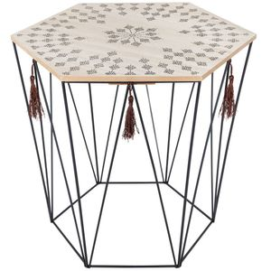 Korbtisch Beistelltisch Metall Korb mit Holz Deckel 40 x 40 x 43 cm
