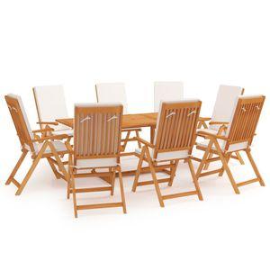 Gartenmöbel Essgruppe 8 Personen ,9-TLG. Terrassenmöbel Balkonset Sitzgruppe: Tisch mit 8 Stühle mit Kissen Massivholz Teak❀7031