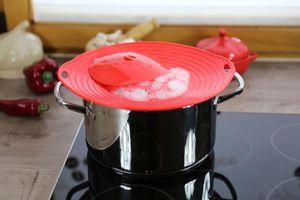 2 Stück culinario Überkochschutz Universaldeckel zum Schutz vor dem Überkochen optimal für Töpfe von Ø 16 - 28 cm