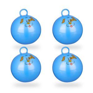 relaxdays 4x Hüpfball im Set Sprungball mit Hunde-Motiv Jumpingball Gummiball 45 cm blau