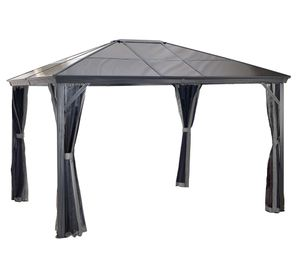 Sojag Aluminium Pavillon 3x4,2 m Gazebo Verona 10x14 inkl. Moskitonetz grau Gartenpavillon Garten
