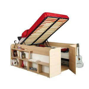 Funktionsbett Aaliyah 140*200 cm Baltimore Eiche inkl Lattenrahmen mit Hydraulik  + Schubladen + Regal Kinder Jugendzimmer Stauraumbett