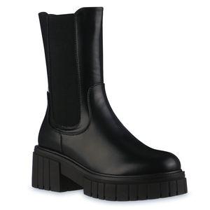 VAN HILL Damen Leicht Gefütterte Plateaustiefel Stiefel Profil-Sohle Schuhe 837812, Farbe: Schwarz, Größe: 39