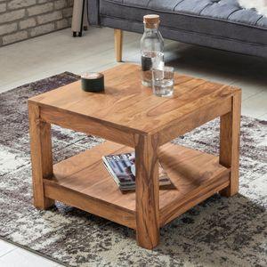 WOHNLING Couchtisch MUMBAI Massiv-Holz Akazie 60 x 60 cm Wohnzimmer-Tisch Design dunkel-braun Landhaus-Stil Beistelltisch