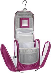 Große Premium Kulturtasche zum Aufhängen mit Spiegel, sehr geräumiger Kulturbeutel als Geschenk oder perfekt für den Urlaub, Farbe:Lila