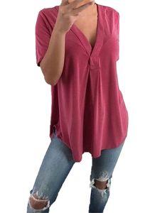Damen Deep V-Ausschnitt Kurzarm Summer Loose Casual Pullover T-Shirt Top,Farbe: bordeaux,Größe:5XL