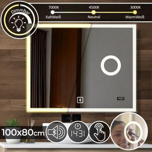 Aquamarin® Badspiegel mit LED Beleuchtung - 100x80 cm, EEK A++, Dimmbar 3in1 Kaltweiß Neutral Warmweiß, Digitaluhr, Bluetooth Lautsprecher, Kosmetikspiegel - Badezimmerspiegel, Lichtspiegel, LED Spiegel