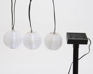 LED-Solar-Lampionkette weiß 10 Lichter 7,5 Meter