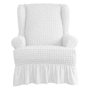 Sesselbezug Ohrensessel Sesselhusse Stretch Schonbezug Couchhusse Sofabezug Stretchhusse Einheitsgröße Weiß Einfarbig mit Rüschenröcken