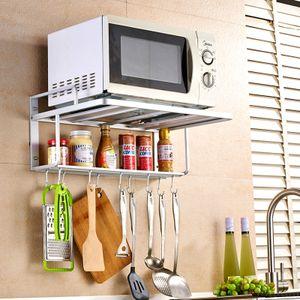 Mikrowellenhalterung Küchenregale mit Haken 2 Ablagen Gewürzregal Mikrowellen Halter Wand-Befestigung Silber