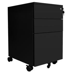 VINGO Stahl Rollcontainer mit 3 Schubladen und H?ngeregistratur Abschlie?barer Bš¹roschrank, 65 x 39 x 50 cm Schwarz