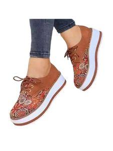 Damen Mode Freizeitschuhe Plateau Loafer Runde Zehen Turnschuhe Zum Schnüren,Farbe: Dunkel Braun,Größe:42
