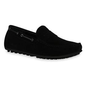 Mytrendshoe Herren Slippers Mokassins Ösen Profil-Sohle Schlupf-Schuhe 836200, Farbe: Schwarz, Größe: 42