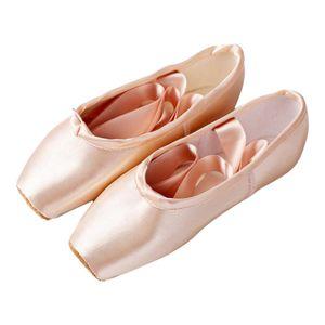 Satin Ballett Dance Schuhe Split Leder Sohle Rosa Ballett Hausschuhe Wohnungen mit Band Gymnastik Schuhe für Mädchen Frauen 37