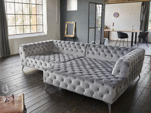 Sofa Chesterfield Stoff Velvet versch. Farben Recamiere rechts o. links KAWOLA silber Recamiere rechts NARLA
