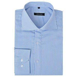 Herren Business-Hemd weiß und blau gestreift Gr. S