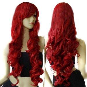 Mode Frauen lange lockige Wein rote Perücke Cosplay Party Haarteil Haarverlängerung