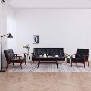 3-er Set Sofagarnitur Sofa Couch | Lounge-Sofa Couch für Wohnzimmer Relaxfunktion Modern Schwarz Kunstleder | 7475