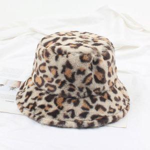 Frauen Winter Bucket Hat Vintage Kunstpelz Leopardenmuster Fluffy Fisherman Hat Warme Fuzzy Caps
