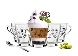 6 Cappuccino Tassen und 6 Löffel Kaffeegläser Teegläser Kaffee-Aufdruck schwarz
