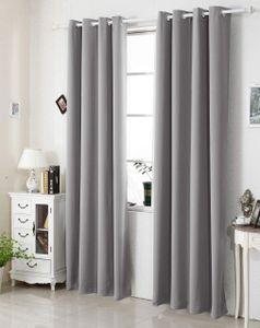 WOLTU Vorhang Gardinen Lichtdicht mit Ösen Verdunkelungsvorhang Thermovorhang in verschiedenen Größen 135x225cm Grau (1 Stück)