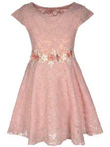 KMISSO Mädchen Kleid mit Spitze Rosa 134