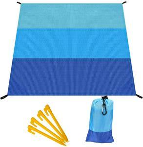Picknickdecke, Sandfreie Stranddecke, 210 x 200 cm mit Tasche und 4 Befestigung Ecken