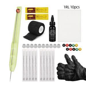 Professionelle DIY Tattoo Hand Poke Pen Stick multi mit 10pcs 3RL DIY Tattoo Hand Poke Pen Stick Kit