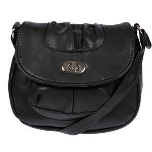 NEW BAGS Schultertasche Abendtasche Umhängetasche Überschlagtasche Schwarz
