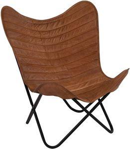 Schmetterlingsstuhl Faltstuhl Butterfly Chair braun 75x75x87 cm Leder