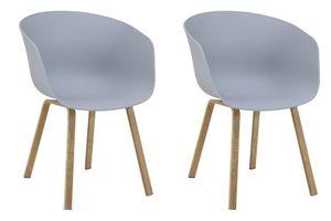 SalesFever Esszimmerstuhl 2er Set | Sitzschale Kunststoff | Metallbeine in Holzoptik | B 54,5 x T 54,5 x H 78 cm | grau