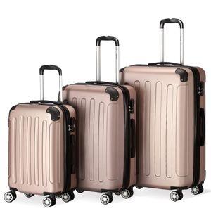 Flexot 2045 3er Reisekoffer Set - Farbe Rosegold Größe M L XL Kofferset Hartschale Trolley Koffer