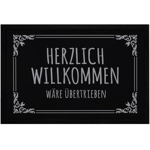 Fußmatte mit Spruch Herzlich willkommen wäre übertrieben Ironie sarkastische Begrüßung rutschfest & waschbar Moonworks® schwarz 60x40cm