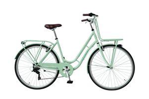 28 Zoll Damen City Fahrrad Rad Bike Cityfahrrad Damenfahrrad Citybike Cityrad Damenrad Gepäckträger Frontträger 6 Shimano Gang Licht RETRO GRÜN