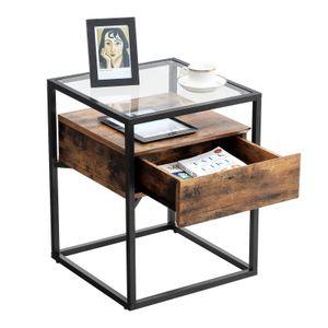 VASAGLE Beistelltisch, Glastisch mit Schublade, 43 x 43 x 54 cm, Sofatisch, Lounge, Foyer, stabil, Industrie Design, vintagebraun-schwarz LET04BX