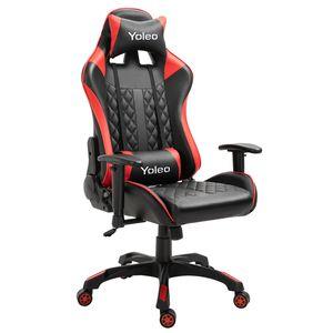 YOLEO Bürostuhl bequemer Gaming Stuhl PC Stuhl 150 kg Belastbarkeit drehbar höhenverstellbar mit Kopfstütze rot