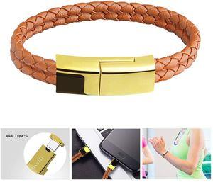 USB Typ C Kabel Armband tragbares Ladekabel aus Leder für Samsung Galaxy, HTC, LG und weitere (7,2 Zoll, goldbraun )