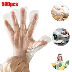 500 Stück transparente Reinigung Kochen Kunststoff Einweghandschuhe