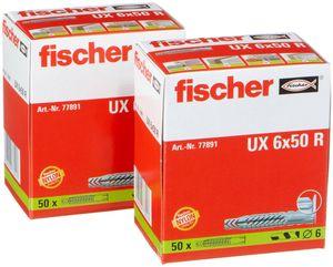 2er Set Dübel Fischer UX 6x50 R Universaldübel 77891, 100Stück