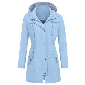 Frauen Solid Rain Jacke Outdoor Hoodie Wasserdichte Kapuze Regenmantel Winddichte Tops Größe:L,Farbe:Hellblau