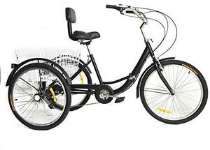 24 Zoll 7-Gang Dreirad für Erwachsene 3 Räder Fahrrad mit Korb Shopping Bike