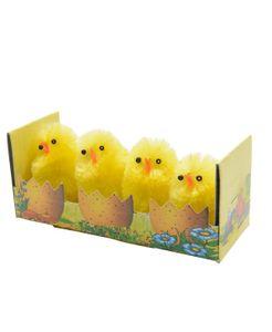 Küken Chenilleküken gelb Osterdeko Frühlingsdekoration 4Stück