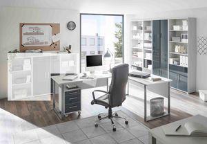 Büromöbel-Set OFFICE LINE LUX Schreibtisch Regalwand Büroeinrichtung Grau