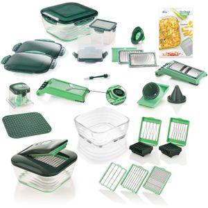 Genius Nicer Dicer Chef Deluxe (34 Teile) inkl. Glasschüssel-Set Gemüse-& Obst Schneider Allesschneider in smaragdgrün; A27062