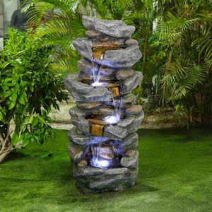 Springbrunnen im Freien mit LED-Lichtern 4-stufig gestapelter simulierter Steinwasserbrunnen - Beruhigender und entspannender Wasserfallbrunnen für den Gartenpatio Fold Court Yard Deck